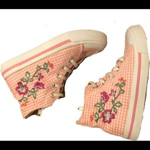 CRB pink gingham high tops w flower embroidery